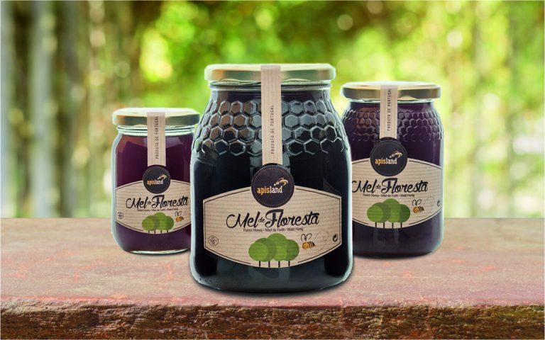 Rótulos de frascos de mel de floresta para a Apisland