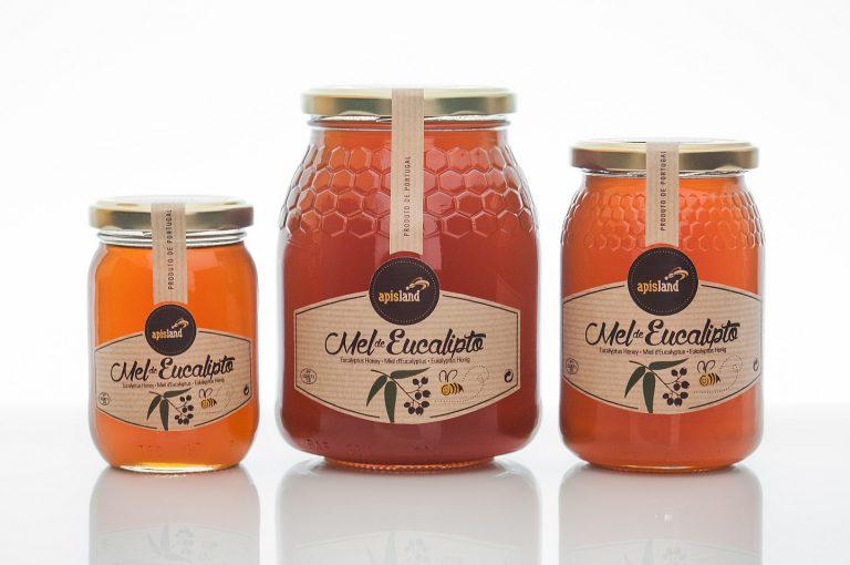 Rótulos de frascos de mel de eucalipto para a Apisland