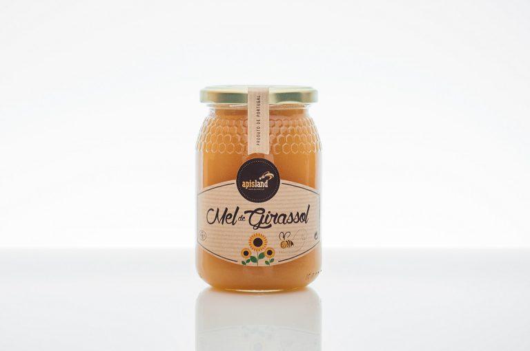 Rótulos de frascos de mel de girassol para a Apisland