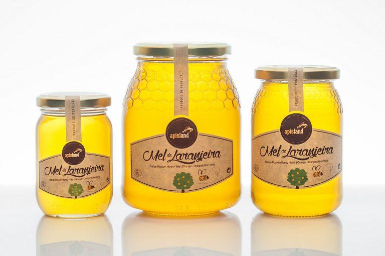Rótulos de frascos de mel de laranjeira para a Apisland