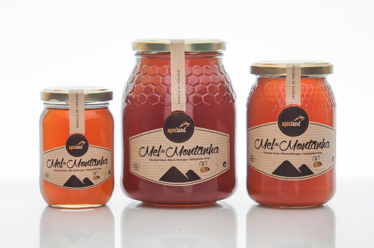 Rótulos de frascos de mel de montanha para a Apisland