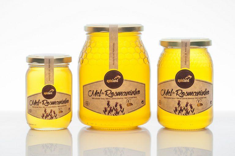 Rótulos de frascos de mel de rosmaninho para a Apisland