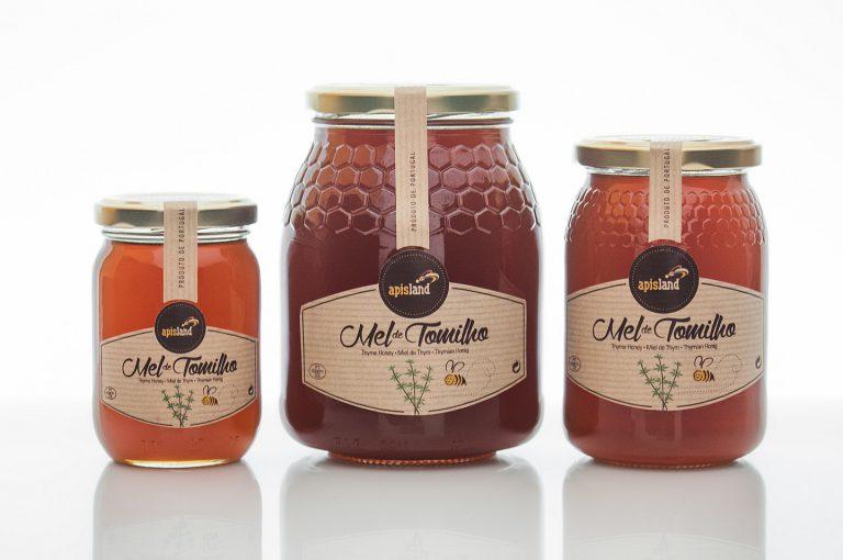 Rótulos de frascos de mel de tomilho para a Apisland