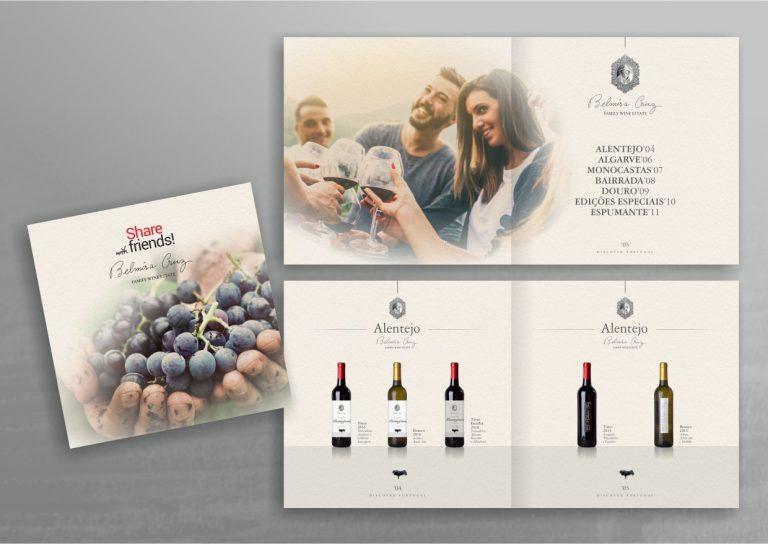 Capa e interior de brochura de vinhos Belmira Cruz