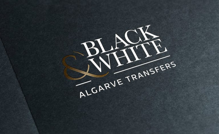 Design do logo da Black & White Algarve Transfers