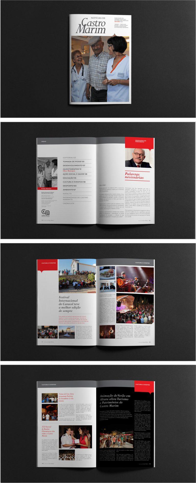 Design exterior e interior da revista da Câmara Municipal de Castro Marim