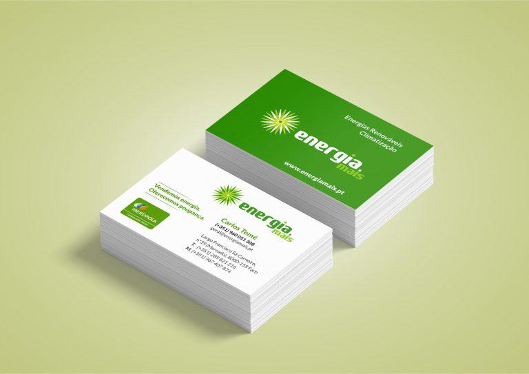 Cartões de visita para a Energia Mais