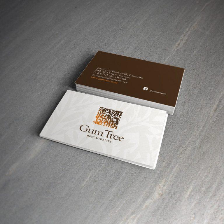 Cartões de visita do restaurante Gum Tree