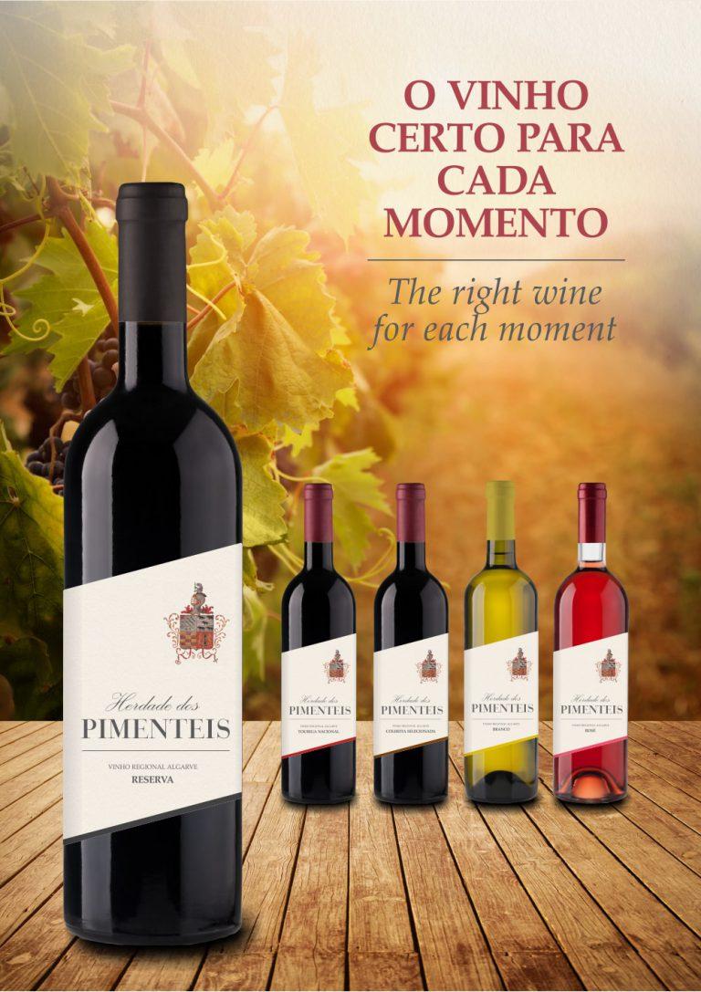 Imagem publicitária dos vinhos da Herdade dos Pimenteis