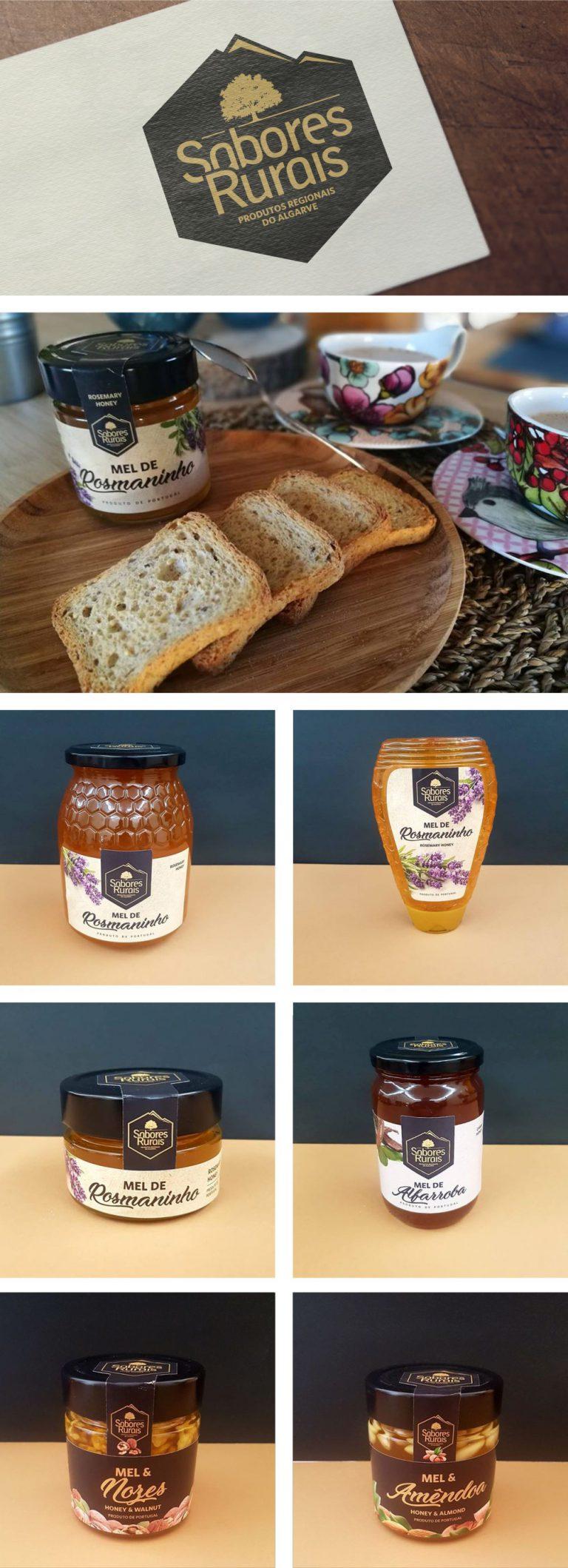 Design de vários rótulos de produtos de Sabores Rurais Produtos Regionais do Algarve
