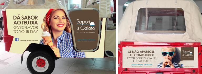 Vinil de publicidade em Tuk-tuk da gelataria Sapori di Gelato